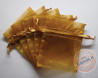 120 GOLD 3x4 Sheer Organza Bags - Party favors, jewelry, gifts, sachets and much, much more