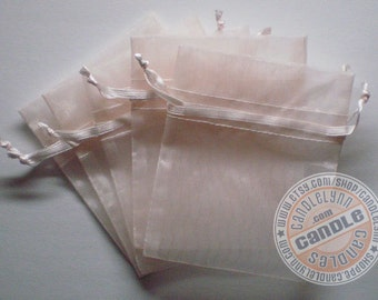 60  LIGHT PINK 3x4 Sheer Organza Bags - Party favors, jewelry, gifts, sachets and much, much more