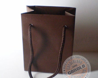 15 Mini Brown Tote Bags with Handles