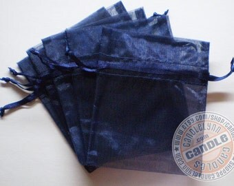 60 NAVY BLUE 3x4 Sheer Organza Bags - Party favors, jewelry, gifts, sachets and much, much more