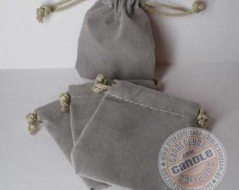 5 Gray 2x2-1/2 Flat Velour Bags - Perfect for Jewelry