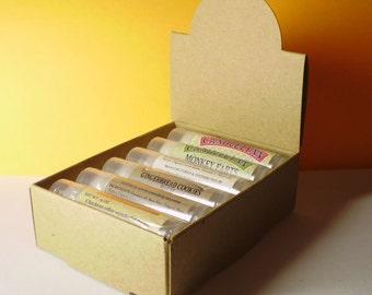 10 Natural Kraft Lip Balm Arched Display Boxes