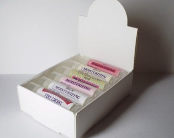 10 White Lip Balm Arched Display Boxes