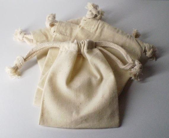Ten (10) 4 x 6 Natural Drawstring Muslin Bags