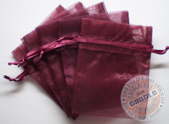 60 WINE 3x4 Sheer Organza Bags - Party favors, jewelry, gifts, sachets and much, much more