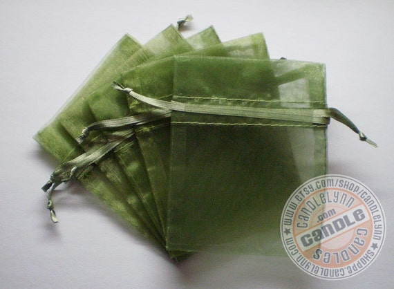30 MOSS GREEN 3x4 Sheer Organza Bags - Party favors, jewelry, gifts, sachets and much, much more