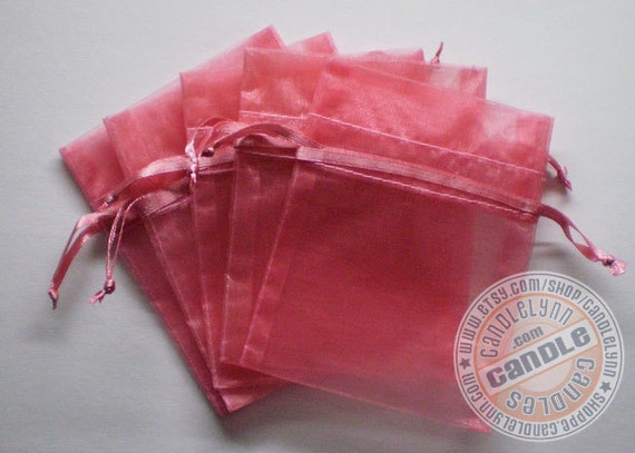 30 ROSE PINK 3x4 Sheer Organza Bags - Party favors, jewelry, gifts, sachets and much, much more