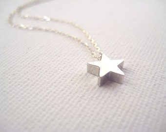 Sterling silver necklace with tiny star bead - Make a Wish
