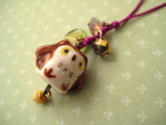 Phone / Dust Plug charm with cute porcelain owl - When spring is here