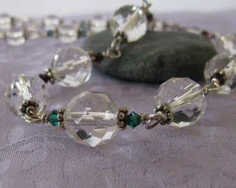 Half Price Faceted Quartz Sterling Necklace w. Swarovski Necklace, Quartz Necklace, Faceted Quartz Beads