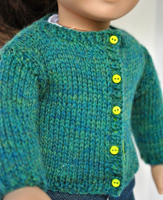 American Girl Doll Clothes -- Handknit Wool Cardigan Sweater in Teal Heather with contrast buttons