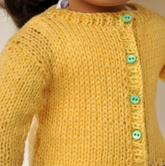 American Girl Doll Clothes -- Handknit Wool Cardigan Sweater in Sunny Yellow with contrast buttons