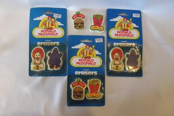 McDonald's SCENTED Erasers...New in Original Packaging 1980'S