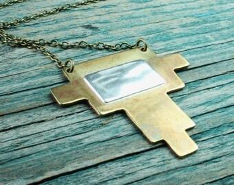 Southwestern Brass & Sterling Necklace - Extra Long