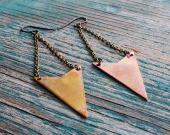 Copper Arrowhead Earrings