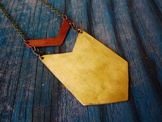 Chevron Necklace - Brass & Copper - extra long with key ring detail