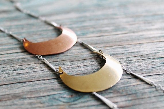 Reserved for Jenny. Two Moons Asymmetrical Necklace - Mixed Metal