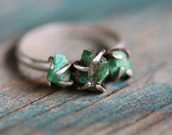 Triple Raw Emerald Sterling Silver Ring - Size 6.5