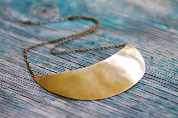 Quarter Moon Breastplate Bib Necklace