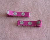 Hot pink with silver dots hair clips - set of two