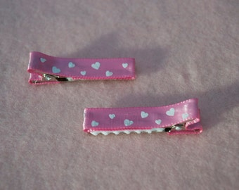 White hearts on pink hair clips - set of two