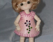 Cute pink felt dress with rhinestone flower for Felix Brownie  or Puki Puki