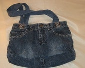 Upcycled Blue Jean Bag with Crystals