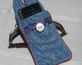 Red, White and Blue Paisley Print and Recycled Blue Jean Hip Bag