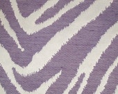 New Fabric Sold By the Yard--Classy Zebra Stripe Fabric--Lilac and Off White