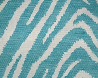 New Fabric Sold By the Yard--Classy Zebra Stripe Fabric--Turquoise and Off White