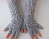 Gray Half Finger- Fingerless Gloves