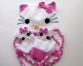 Crochet Kitty Hat and kitty gloves-for Baby or Toddler