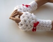 Valentine Gift-White Crocodile Stitch Gauntlets-red bow tie-Victorian gloves-Fingerless Gloves-READY TO SHIP