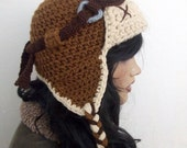 Crochet Aviator Hat Set with Goggles - tan and beige-Photo Prop and it a functioning hat - adult size