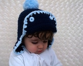 Crochet  Baby Hat in Blue  and dark blue-Photo Prop - for Baby or Toddler-aviator hat