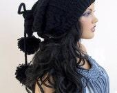 Black Knitting Hat or cowl,scarf-Pon pon hat