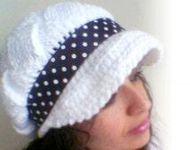 White Slouchy Newsboy Cap - Hazelnut - Handmade-Knitted newsboy brimmed slouch hat-Polka dot