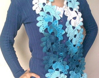 Crocheted Lace Scarf (Turquoise-White variegated)