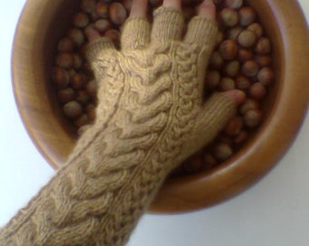 Brown - Chocolate Color Half Finger- Fingerless Gloves