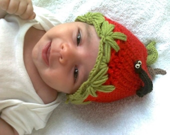 Apple Hat -Crocheted Baby  Hat  - for Baby or Toddler