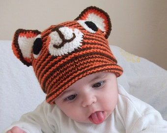 Tiger Hat -Knitting Baby  Hat  - for Baby or Toddler-boy halloween costume