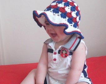 red white blue Fun Hat - Baby/Toddler/Children-Crocheted Baby  Hat  - for Baby or Toddler-for girl baby hat