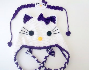Purple-Crochet  Kitty Hat and headband -Crochet Baby  Hat  - for Baby or Toddler