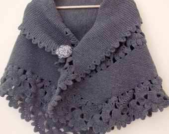 Beautiful Triangle Grey Shawl -Dark Gray Shawl