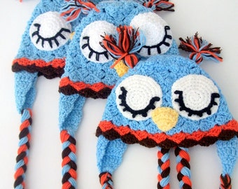 Blue Owl Hat -Crochet Baby  Hat  - for Baby or Toddler