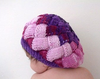 Colored girl's slouch hat-Behind baggy beret -Size: 6-12 months