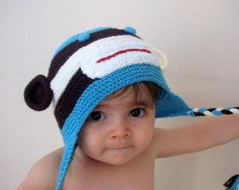 Cotton Monkey Hat -Knitting Baby  Hat  - for Baby or Toddler-newborns knit boy hat animal-boy halloween costume