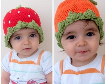Strawberry and Pumpkin Baby   Hat -Crocheted Baby  Hat  - for Baby or Toddler-halloween costume-baby halloween outfits