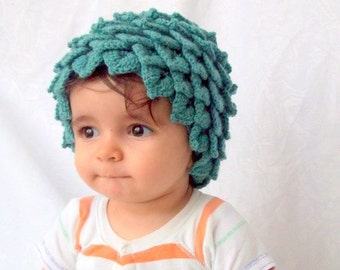 Cotton Crocodile Stitch Oil Green Baby Hat - for Baby or Toddler-Baby Girl or Boy Hat-Leaf Hat