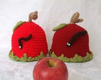 2 Apple Hat -Crocheted Baby  Hat  - for Baby or Toddler